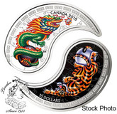 Canada: 2018 $10 Black and White Yin and Yang: Tiger and Dragon Fine Silver Coin