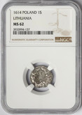 Poland: Lithuania 1614 Solidus NGC MS62