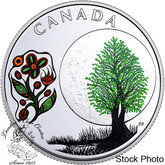 Canada: 2018 $3 Thirteen Teachings From Grandmother Moon: Thimbleberry Moon Pure Silver Coloured Coin