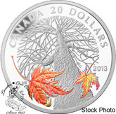 Canada: 2013 $20 Canadian Maple Canopy Autumn Silver Coin