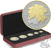 Canada: 2014 Pure Silver Gold Plated Maple Leaf Fractional Coin Set