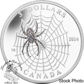 Canada: 2014 $3 Animal Architects - Spider & Web 1/4 oz Silver Coin