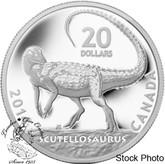 Canada: 2014 $20 Canadian Dinosaurs: Scutellosaurus Pure Silver Coin