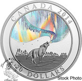 Canada: 2014 $20 A Story of the Northern Lights Howling Wolf Hologram Silver Coin