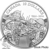 Canada: 2014 $10 70th Anniversary of D-Day - George VI - Pure Silver Coin