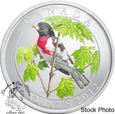 Canada: 2012 25 Cents Rose-Breasted Grosbeak Coloured Coin