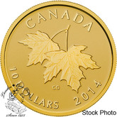 Canada: 2014 $10 Maple Leaves with Queen Elizabeth II Effigy from 1953 Gold Coin