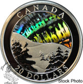 Canada: 2004 $20 Natural Wonders - Northern Lights Hologram Silver Coin