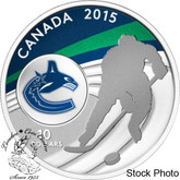 Canada: 2015 $10 Vancouver Canucks NHL Hockey Silver Coin
