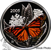 Canada: 2005 50 Cents Monarch Butterfly Coloured Silver Coin