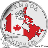 Canada: 2015 $3 50th Anniversary of the Canadian Flag Silver Coin