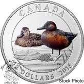 Canada: 2015 $10 Cinnamon Teal Duck Silver Coin