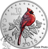 Canada: 2015 $10 Colourful Songbirds of Canada: The Northern Cardinal Silver Coin
