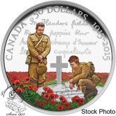 """Canada: 2015 $50 100th Anniversary of """"In Flanders Fields"""" Silver Coin"""