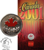 Canada: 2001 25 Cent Spirit of Canada Coloured Coin in Folder