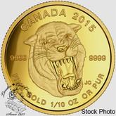 Canada: 2015 $5 Prehistoric Animals: American Scimitar Sabre-Tooth Cat Gold Coin