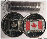 Canada: 2015 Flag 25 Cent Original Roll (40 Coins) Mixed Coloured & Non Coloured