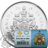 Canada: 2014 50 Cent Special Wrap Circulation Roll (25 Coins)
