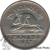 Canada: 1937 5 Cent Dot CIRCULATED