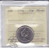 Canada: 1974 25 Cents ICCS MS66 Coin nr 3