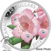 Canada: 2012 $20 Rhododendron Crystal Dew Drop Pure Silver Coin
