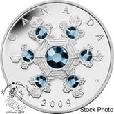 Canada: 2009 $20 Blue Crystal Snowflake Silver Coin