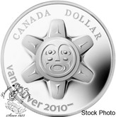 Canada: 2010 $1 Vancouver 2010 The Sun Sterling Silver Dollar Coin