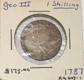 Great Britain: 1787 Shilling George III No Hearts