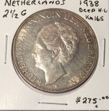 Netherlands: 1938 Silver 2 1/2 G Deep Hair line #2