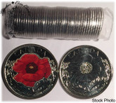 Canada: 2015 25 Cent Poppy Original Roll (40 Coins) Mixed