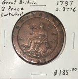 "Great Britain: 1797 2 Pence George III ""Cartwheel"" #3"