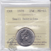 Canada: 1978 25 Cents ICCS MS65 Small Denticles Coin nr 9