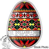 Canada: 2016 $20 Traditional Ukrainian Pysanka Silver Coin