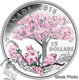 Canada: 2016 $15 Cherry Blossoms Silver Coin
