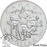 Canada: 1994 $1 RCMP Northern Dog Team Patrol BU Silver Dollar Coin