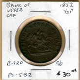 Bank of Upper Canada: 1852 Half Penny #3