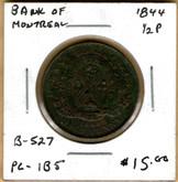 Bank of Montreal: 1844 Half Penny PC-1B5 #5h