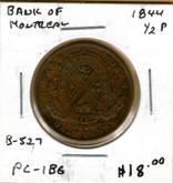 Bank of Montreal: 1844 Half Penny #6b