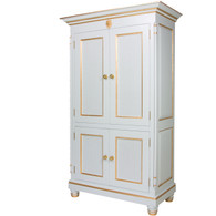 Evan Armoire Finish: Reef Trim Out: Gold Gilding Appliqued Moulding: Lion Head Moulding in Gold Gilding Knobs: Wood in ReefFinish with Gold Gilding Trim
