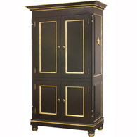 Evan Armoire Finish: Black Trim Out: Gold Gilding Appliqued Moulding: Star Moulding in Gold Gilding Knobs: Wood in Black Finish with Gold Gilding Trim