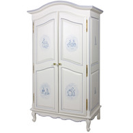 French Armoire Finish: Antico White Trim Out: Blue Hand Painted Motif: Petite Moi in Blue Knobs: Glass Knobs with Gold Base