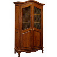 Grand Armoire Finish: Chateau Door Option: Brass Wire Mesh Upgraded Knobs: Brass Knob IV