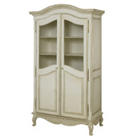 Grand Armoire Finish: Versailles Linen Door Option: Brass Wire Mesh Knobs: Glass Knobs with Gold Base