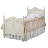 Kate Bed Bed Size: Twin Finish: Linen Hand Painted Motif: Ribbons and Roses