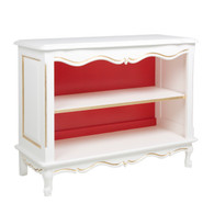 Petite French Bookcase: Antico White / Red / Gold Gilding