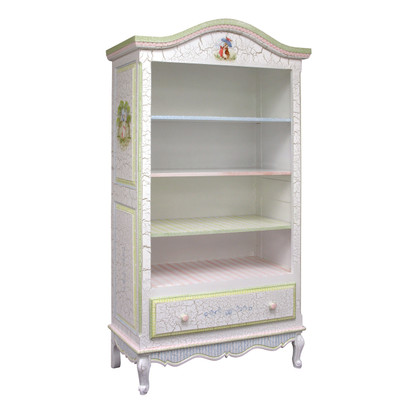 tall french bookcase finish antico white on gray crackle hand painted motif enchanted forest