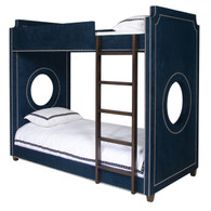 Gramercy Porthole Bunk Bed Bed Size: Twin Over Twin Fabric: AFK Arizona Navy Nail Heads: Polished Nickel Ladder and Feet: Walnut