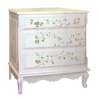 French Chest Finish:Pink / Linen Hand Painted Motif:Floral Vines Knobs:Glass Knobs with Gold Base