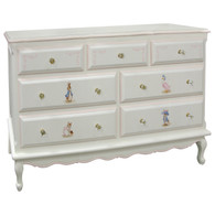 French Dresser Finish: Antico White Trim Out: Pink Hand Painted Motif: Classic Enchanted Forest Knobs: Glass Knobs with Gold Base