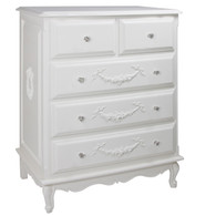 French Tall Chest Finish: Antico White Appliqued Moulding Option: AFK Standard Moulding in Antico White Knobs: Glass Knobs with Silver Base